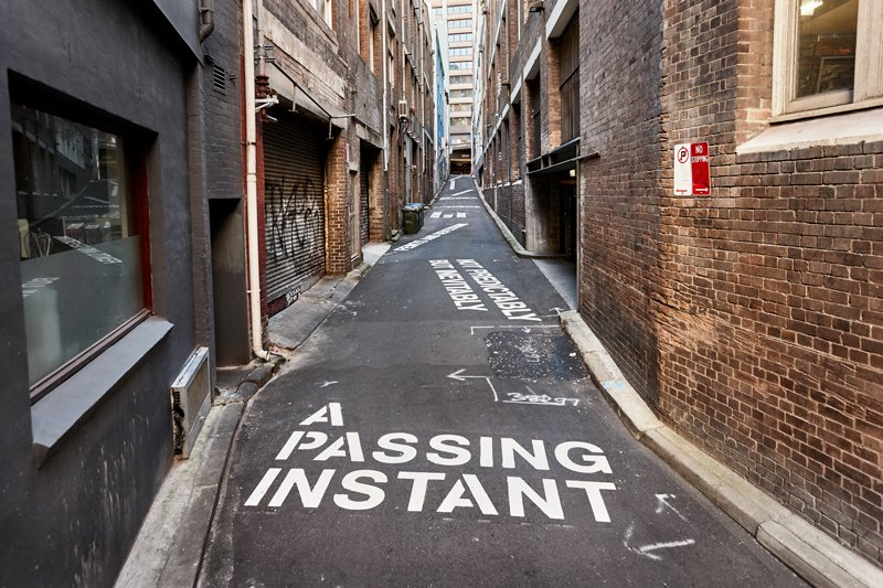 Agatha Gothe‐Snape's 'Here, an Echo' installation in Weymss Lane, Surry Hills. Commissioned by the City of Sydney. Courtesy the artist and The Commercial, Sydney. Photographed by Yanni Kronenberg